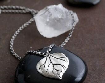 Silver Aspen Leaf Necklace | Sterling Silver Necklace