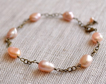 Keishi Pearl Bracelet, Rustic Wedding Jewelry, Antiqued Brass Chain, Genuine Pink Freshwater, Wire Wrapped