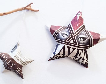 Maven Chocolate Milk Stout Beer Stars, Ornaments, Aluminum Can, Upcycled,Barley Mow Brewing Co, Eyes
