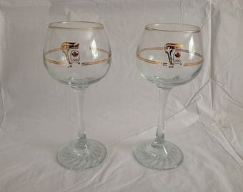 1988 Petro Canada Winter Olympics Calgary Red Wine Glasses (2)