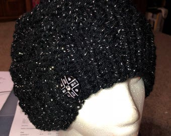 Slouchy sparkly black hat