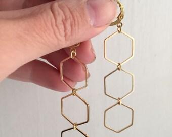 Triple hex brass earrings