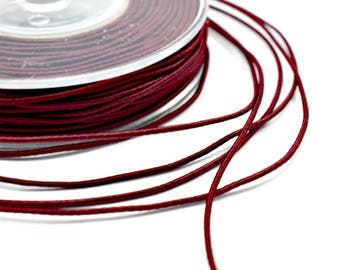 Wrapped silk cord, 1.5mm satin cord, burgundy cord, 4 meters