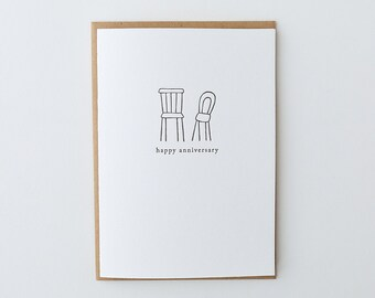 Happy Anniversary Chairs Letterpress Greeting Card