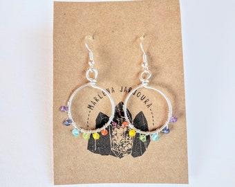 rainbow reset hoops, medium size, sterling silver hoops, handmade jewelry, handmade earrings, hoop earrings, wholesale earrings,
