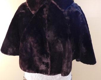 Vintage Chocolate Brown Velvet Faux Fur Cape