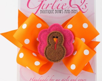 "Turkey Hair Bow Hair Clip for Thanksgiving Fall Autumn 5"" x 4"" Pink and Brown Embroidered Halloween"