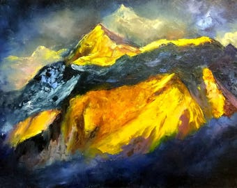 Bright mountain on a dark blue background oil painting on canvas