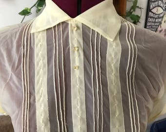 1950s sheer pintuck yellow summer blouse