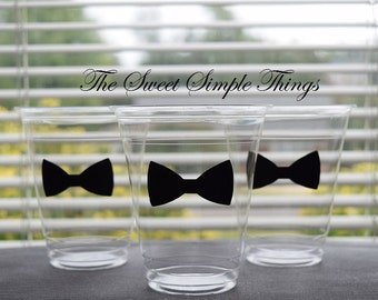 20 Bow Ties or Bows Cups, Bow Tie Cups, 9 12 & 16 oz Cups, Bow Ties or Bows Gender Reveal Cups, Wedding Reception, Beau or Bows Reveal