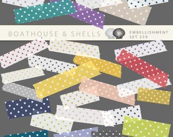 DIGITAL WASHI TAPE with polka dots, 48 digital scrapbooking embellishments - clip art, printable, instant download, png, 300 dpi - 259