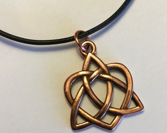 Copper & Silver Celtic Love Knot Leather Necklace Outlander Jewelry Mother's Knots Gift For Her Mom Heart Valentine Infinity Eternity Irish