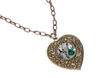 Steampunk Jewelry, Women HEART Necklace Silver Watch EMERALD Crystal, Wedding Anniversary, Girlfriend Valentine Gift - Jewelry by edmdesigns
