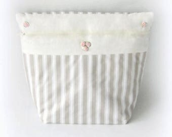 Cover linen ecru stripes and roses Bouquet