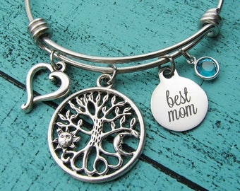 Mother's day gift for Mom bracelet, best mom jewelry, birthstone, Mom birthday gift, wedding gift for Mom, baby shower gift, new Mom jewelry