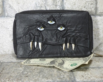 Wallet Woman Clutch With Monster Face Double Zippered Organizer Black Leather  232