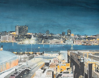 SALE New Jersey View from Manhattan  New York Original Painting