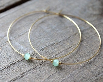Hoop Earrings, Large Gold Plated Hoops, Gold Hoop Earrings, Beaded Green Glass, Also in Silver, Silver Hoops