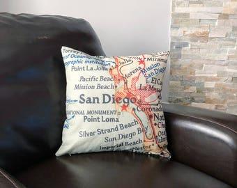 San Diego Map Throw Pillow - San Diego Map Pillow - Map Toss Pillow - Home Decor - San Diego Pillow - California Pillow