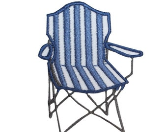 ID 1790Z Blue Striped Folding Chair Patch Outdoor Embroidered Iron On Applique