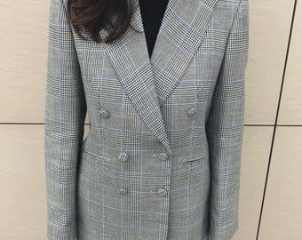 Prince Of Wales Checked Wool-Blend Blazer With Peaked Lapels
