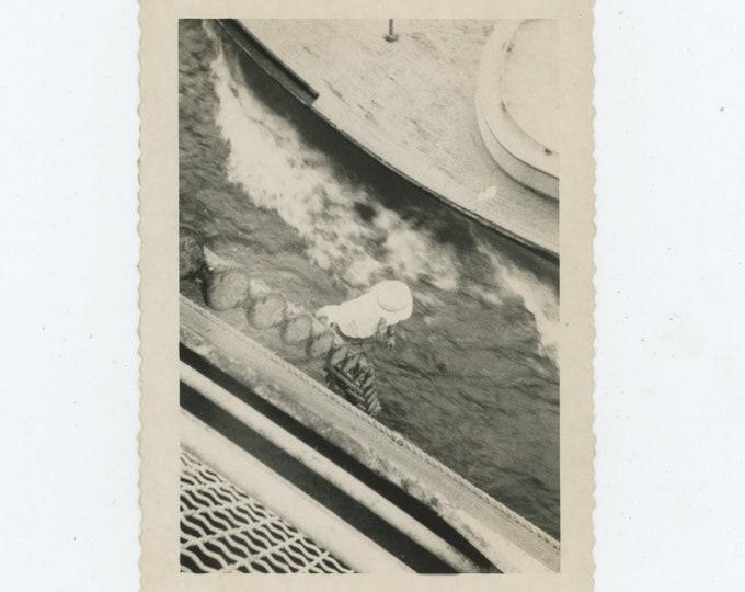 Walking in the Water: Vintage Snapshot Photo, c1940s [84665]