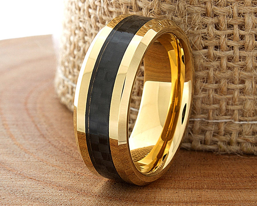 Carbon Fiber Tungsten Wedding Ring Yellow Gold Mens Wedding