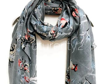 Sketched Robin Birds Grey Scarf / Spring Summer Scarf /Autumn Scarf /Gifts For Her /Gifts For Mother /Women Scarves /Handmade Accessories
