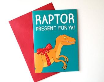 Funny Dinosaur Birthday Card, Raptor Birthday card, funny dino birthday card, Jurassic Park card, Velociraptor card, funny boyfriend birthd