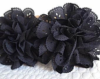 2 Black Eyelet Flower - Fabric Flower - Vintage Chiffon Flower - Lace rose - Wholesale flowers - Lace Flower - Eyelet Fabric Flower