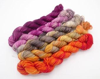 66 Sunset Mini Skein Set,  Lovely Sock Hand Dyed Yarn - In Stock