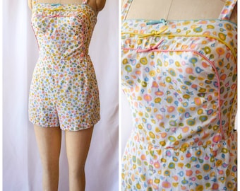 Candy Drop | Vintage 1950's Pastel Print Playsuit Vintage Romper Soft Cotton Sun Suit GABAR Blue Yellow Pink Piping and Bows Bust 32-34