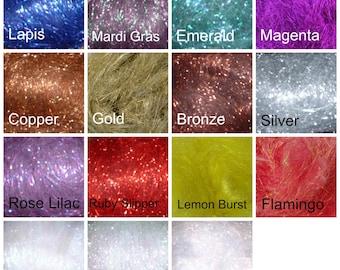 Sampler Pack of Metallic Fiber, 15 colors Crystal Metallic fiber for spinning, felting or fly tying