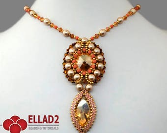 Tutorial Marquise Pendant - Beading Tutorial, Beading Pattern, Instant download, design by Ellad2