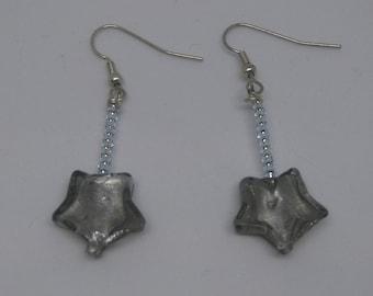 Gray glass beaded earrings