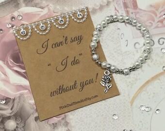 Flower Girl Proposal, Proposal Bracelet, Will You  Be Our Flower Girl, Flower Girl Bracelet, Flower Girl Pearl Bracelet, Flower Girl Gift
