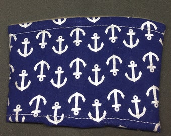 Reusable Fabric Coffee Sleeve / Reusable Coffee Cozy / Cup Sleeve / Eco Friendly Coffee Sleeve / Navy with Silver Anchor Print