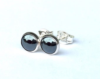 Hematite Stud Earrings .. Silver Studs .. Small 6MM Stud Earrings .. Hematite Studs .. Hematite Earrings