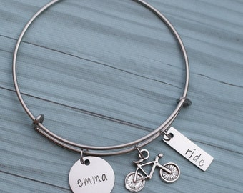 Personalized hand stamped bicycle bracelet - gift for biker - stainless steel cycling bangle - biking bracelet - cycler gift