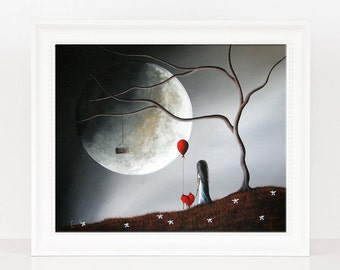 Ok Let's Get You Fixed Up - Limited Edition - Girl With Heart Pet - Erback Art - Fantasy Art - Only 3 left - Big Moon ART