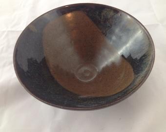 Brown and black rustic hand thrown ceramic bowl