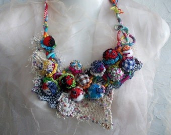 Candy Land...Romantic, Colorful Textile Balls From Cotton Fabric, Hand Wrapped, Crochet, Sewn and Beaded Bohemian Statement Tribal Necklace.