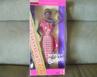 Vintage 1993 Kenyan Barbie Doll, New In Box, Barbie Dolls of the World Collection, East African Dolls, Kenyan Dolls, African Barbie Dolls