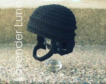 PDF CROCHET PATTERN: The Hockey Helmet, Photo Prop. Earflap Hat