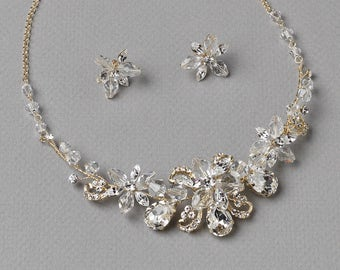 Floral Gold Jewelry Set, Crystal Bridal Jewelry Set, Gold Wedding Jewelry Set, Jewelry for Bride, Bride Jewelry Set, Gold Jewelry ~JS-1659