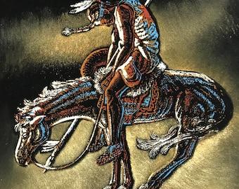 Velvet Painting Indian Warrior Vintage