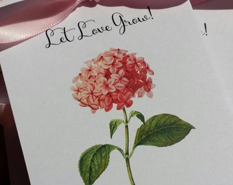Custom Vintage Pink Hydrangeas Design Wedding Favors w/ Wildflowers Seed Packets Personalized Wedding Reception Favors Engagement Party