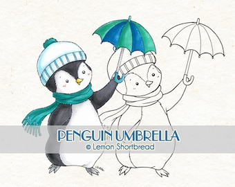 Digital Stamp Penguin Umbrella, Digi Download, Winter Holiday Merry Christmas, Graphic, Clip Art, Coloring Page, Scrapbooking