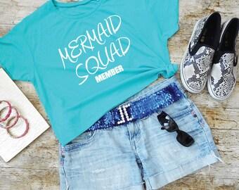 Mermaid Squad Member Shirt. Mermaid Squad T-Shirt. Cropped Tee. Mermaid Shirt. Mermaid Gang. Mermaid Academy.
