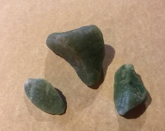 3 raw aventurine stones